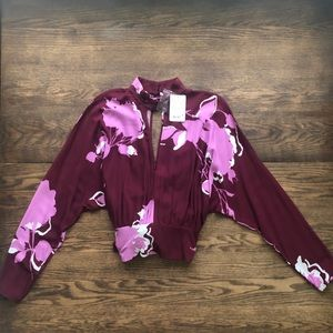 Free People NWT Maroon & pink tie blouse with slit